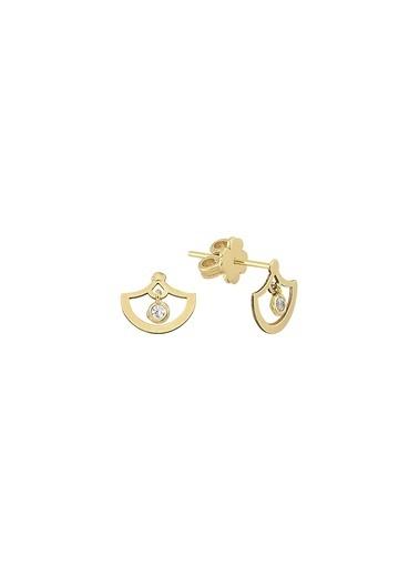 Piano Jewellery Pırpır Taşlı Sade Altın Küpe 14 Ayar Altın